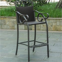 Pemberly Row Patio 2 Piece Bar Stool in Chocolate