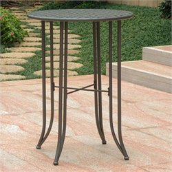 Pemberly Row Bar-height Patio Table in Matte Brown
