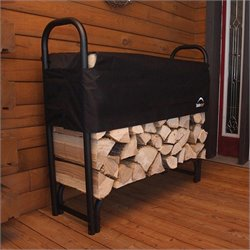 Pemberly Row Heavy Duty Firewood Rack-in-a-Box with 4' Cover in Black