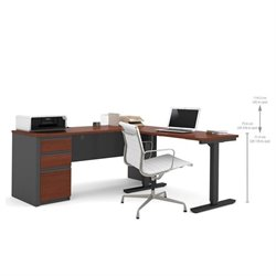 Pemberly Row L-Shape Desk in Bordeaux and Graphite