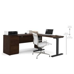 Pemberly Row L-Shape Desk Table in Chocolate