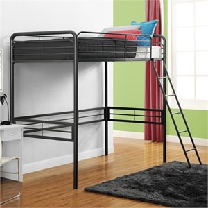 Pemberly Row Metal Twin Loft Bed in Black