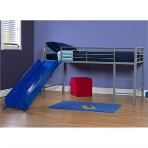 Pemberly Row Metal Twin Loft Slide Bed in Silver and Blue