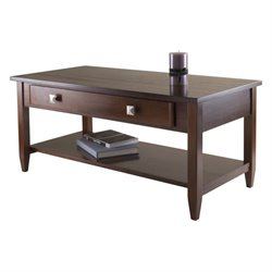 Pemberly Row Tapered Leg Coffee Table in Antique Walnut