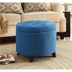 Pemberly Row Round Ottoman in Blue