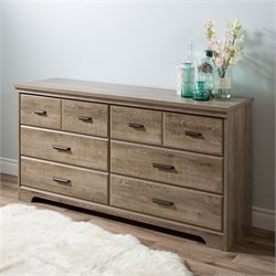 Pemberly Row 6 Drawer Wood Double Dresser in Weathered Oak
