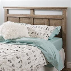 Pemberly Row Wood Full Queen Panel Headboard in Weathered Oak