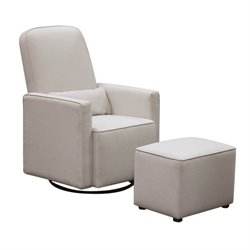 Pemberly Row Swivel Glider with Stationary Ottoman in Cream