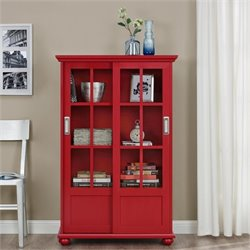 Pemberly Row Sliding Glass Door Bookcase in Red