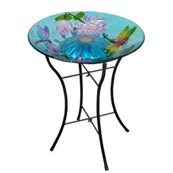 Pemberly Row Solar Dragonfly Glass Bird Bath