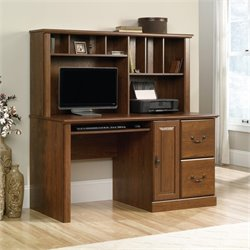 Pemberly Row Computer Desk with Hutch in Milled Cherry