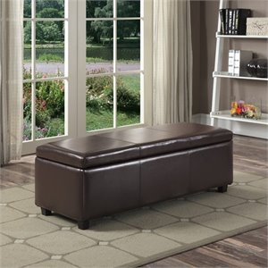 Pemberly Row Faux Leather Storage Bench in Brown