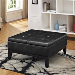 Pemberly Row Faux Leather Coffee Table Storage Ottoman in Black