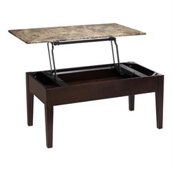 Pemberly Row Faux Marble Lift Top Coffee Table in Espresso