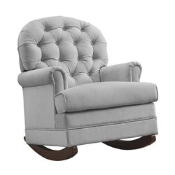 Pemberly Row Brielle Tufted Rocker in Gray