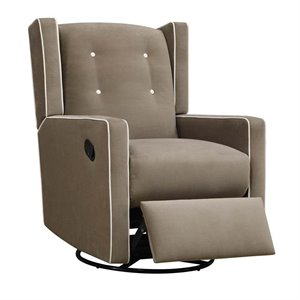 Pemberly Row Mikayla Upholstered Swivel Gliding Recliner in Mocha