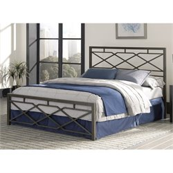 Pemberly Row Full Metal Bed in Rustic Pewter