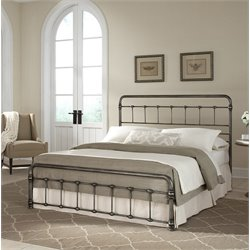 Pemberly Row Full Metal Bed in Weathered Nickel