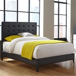 Pemberly Row Queen Upholstered Platform Bed in Black Onyx