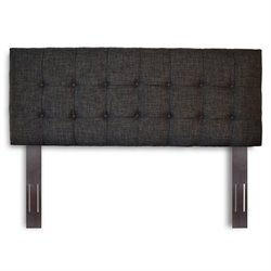 Pemberly Row Full Queen Upholstered Headboard in Carbon Gray