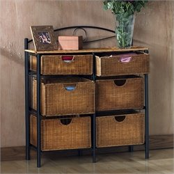 Pemberly Row Iron Wicker Storage Chest in Black