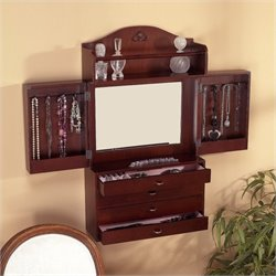 Pemberly Row Wall Mount Jewelry Armoire in Cherry