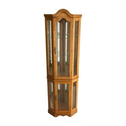 Pemberly Row Lighted Corner Curio Cabinet in Golden Oak