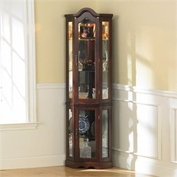 Pemberly Row Mahogany Lighted Corner Curio Cabinet