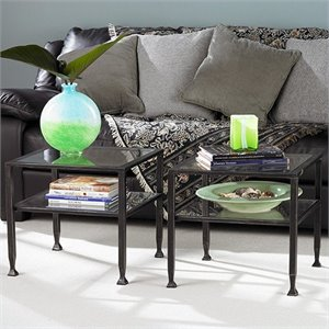 Pemberly Row Black Coffee Table with Glass Top