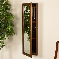Pemberly Row Wall Mount Jewelry Mirror in Warm Brown Walnut