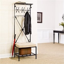 Pemberly Row Entryway Storage Rack Bench Seat in Textured Black