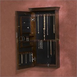 Pemberly Row Wall Mount Jewelry Armoirein Espresso