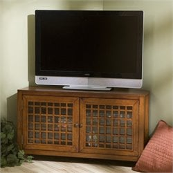 Pemberly Row Corner Media Stand in Walnut
