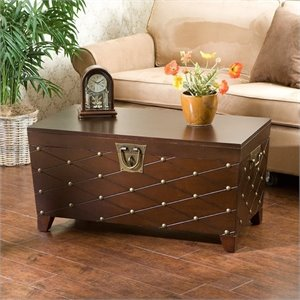 Pemberly Row Espresso Nailhead Cocktail Table Trunk