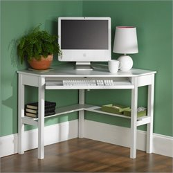 Pemberly Row Corner Computer Desk in White