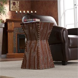 Pemberly Row Dark Brown Faux Leather Accent Table