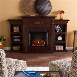 Pemberly Row Electric Fireplace w Bookcases in Espresso