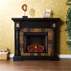 Pemberly Row Weatherford Convertible Electric Fireplace in Black