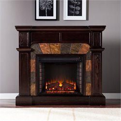 Pemberly Row Espresso Convertible Electric Fireplace