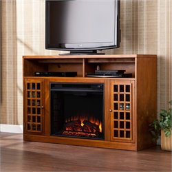 Pemberly Row Media Electric Fireplace in Glazed Pine