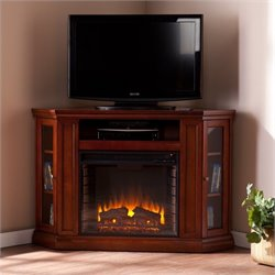 Pemberly Row Convertible Media Electric Fireplace in Mahogany