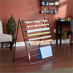 Pemberly Row Easel Wall Mount Craft Storage Rack in Black