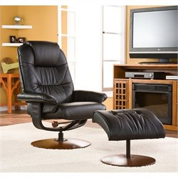 Pemberly Row Recliner and Ottoman in Black