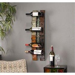 Pemberly Row Wall Mount Wine Storage in earth tones