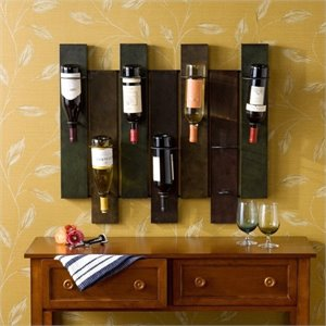 Pemberly Row Wall Mount Wine Rack in Distressed Earth Tone