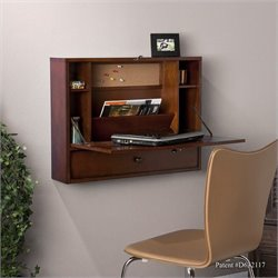 Pemberly Row Wall Mount Laptop Desk in Brown Mahogany