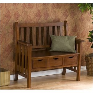 Pemberly Row 3 Drawer Country Bench in Oak Finish