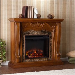 Pemberly Row Electric Fireplace in Walnut Finish
