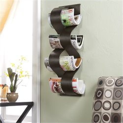 Pemberly Row Wave Wall Mount Magazine Rack in Brown Brush