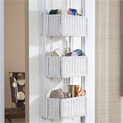 Pemberly Row Over The Door Basket Storage in White Finish